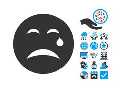 Cry Flat Vector Icon With Bonus Stock Illustration