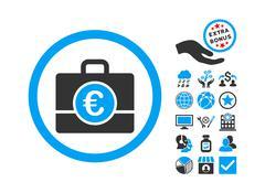 Euro Accounting Case Flat Vector Icon With Bonus Stock Illustration