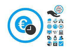 Euro Credit Flat Vector Icon With Bonus Stock Illustration