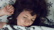 4k Authentic Shot of a Girl in Bed Waking Up Stock Footage