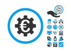 Euro Machinery Flat Vector Icon With Bonus Stock Illustration