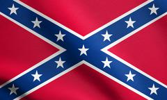 Confederate rebel flag waving with fabric texture Stock Illustration