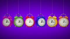 Clock alarm 3D. Time concept. Stock Footage