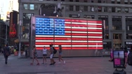 Star Spangled Banner flag in lights, Times Square, Manhattan, New York. Stock Footage