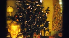 1961: showing off a christmas tree CLARKSDALE, ARIZONA Stock Footage