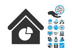 Realty Pie Chart Flat Vector Icon With Bonus Stock Illustration