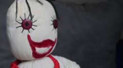 Stop motion of smiling doll made of cotton and velvet  fabric  4K 2160p Ultra Stock Footage