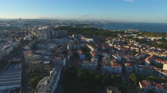 City Buildings near coast Almada Portugal, Aerial Shot 4k Arkistovideo