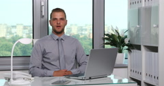 Serious Confident Business Man Looking Camera Negative Response in Modern Office Stock Footage