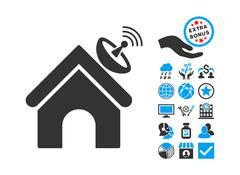 Space Antenna Building Flat Vector Icon With Bonus Stock Illustration