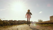 Young Happy Teenager Girl Running and Doing Celebration Jump Outdoors. Stock Footage