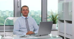 Chief Executive Officer Portrait Serious Looking Camera Company Workplace Office Stock Footage