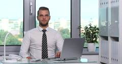 Good Looking Business Man Serious Look Camera Inside Place Office Room Company Stock Footage