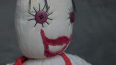 Smiling doll made of cotton and velvet  fabric slow panning 4K 2160p UltraHD Stock Footage