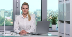 Handsome Business Woman Serious Looking Camera Affirmative Respond Work Office Stock Footage