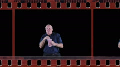 Frightened man in film Stock Footage