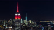 Empire State Building and Freedom Tower Manhattan New York Night Timelapse Stock Footage