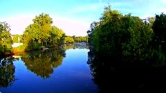 Cinemagraph. Summer nature forest lake landscape, t Stock Footage