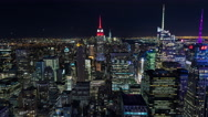 Manhattan, New York City at Night, Empire State Building and Times Square Stock Footage