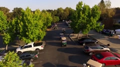 Golf club Aerial with golf cars Stock Footage