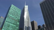 Looking up the skyscrapers beside Bryant Park, Manhattan, New York. Stock Footage
