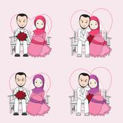 Muslim wedding couple vector cartoon, bride and groom sitting on a chair Stock Illustration