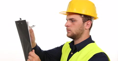 Satisfied Constructor Engineer Man Taking Note Examining Clipboard Pencil Sign Stock Footage