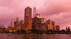 New York City Lower Manhattan Day To Night Pink Sunset Timelapse Stock Footage