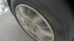Rubber tire tread of car wheel Stock Footage