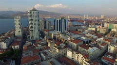 Izmir city center overview. Turkish city, drone shot Stock Footage