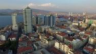 Izmir city center overview. Turkish city, drone shot Stock Footage