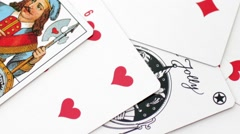 Playing card on the table Stock Footage