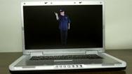 Computer cop gesturing stop Stock Footage