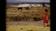 1968: woman in a red dress is walking towards towards a boy on a farm  Stock Footage