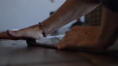 Artisan working with leather in a workshop Stock Footage
