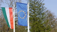 Hungarian and European Union flag Stock Footage