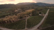 Aerial: Scenic Rural Orchard and Town at Sunset Stock Footage
