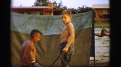1968: a picnic in a forest area is seen COTTONWOOD, ARIZONA Stock Footage