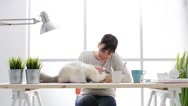 Woman cuddling her beautiful cat Stock Footage