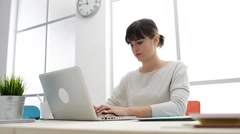 Secretary working at desk Stock Footage