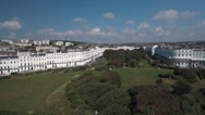 Aerial view of a regency square in Brighton Stock Footage