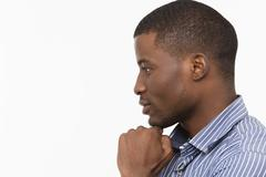 Afro-American man posing in studio Stock Photos