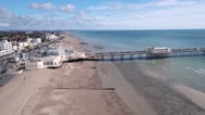 The beach and the pier in Worthing Stock Footage