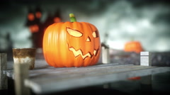 Halloween pumpkin in a spooky graveyard. Horror night. Hallowenn concept. realis Stock Footage