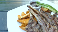 Lamb chop steak with vegetable Stock Footage