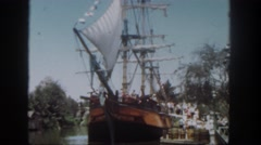 1962: hundreds of people on the dock are boarding a ship. SAN PEDRO, CALIFORNIA Stock Footage