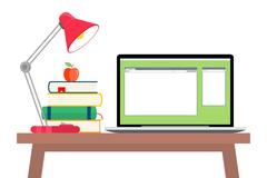 Online education flat horizontal banner set with distance tutorials and training Stock Illustration
