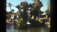 1962: a beautiful waterfall featuring a skull at an amusement park SAN PEDRO Stock Footage