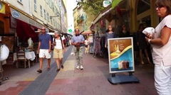 Walking Along the Shopping Street in Menton, France Stock Footage