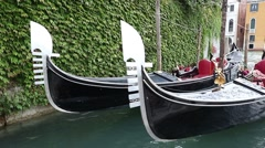 Two gondolas are bobbing on the waves Stock Footage